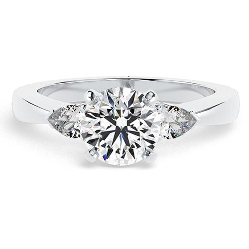 Round Brilliant Cut Pear Diamond Three Stone Engagement Ring