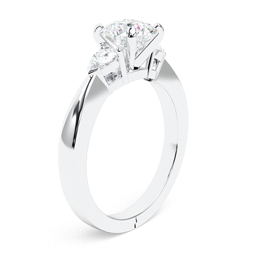 2.00 Ct SI2 H Round Brilliant Cut Pear Diamond Three Stone Engagement Ring 18K-White Gold