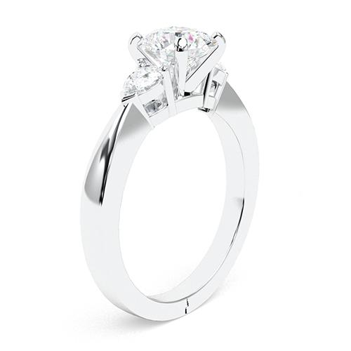 2.00 Ct SI2 H Round Brilliant Cut Pear Diamond Three Stone Engagement Ring 18K-White Gold
