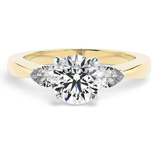 Round Brilliant Cut Pear  Three Stone  Engagement Ring