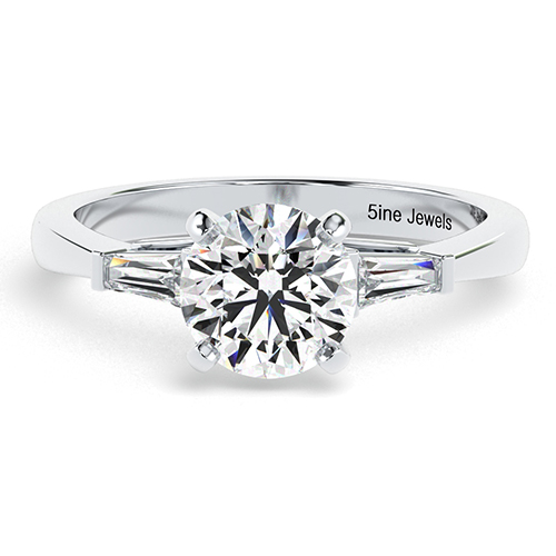 Round Brilliant Cut Tapered Baguette Diamond Three Stone Engagement Ring