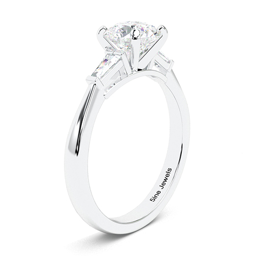 Round Brilliant Cut Tapered Baguette  Three Stone  Engagement Ring