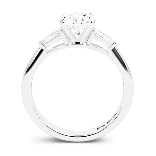 1.20 Ct SI2 F Round Brilliant Cut Tapered Baguette Diamond Three Stone Engagement Ring 18K-White Gold