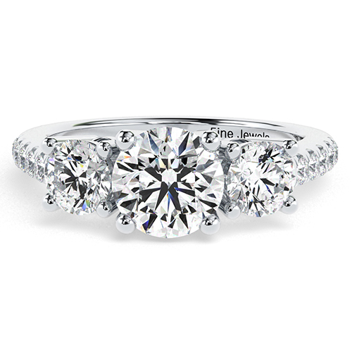 Round Brilliant Cut Heirloom  Three Stone  Engagement Ring