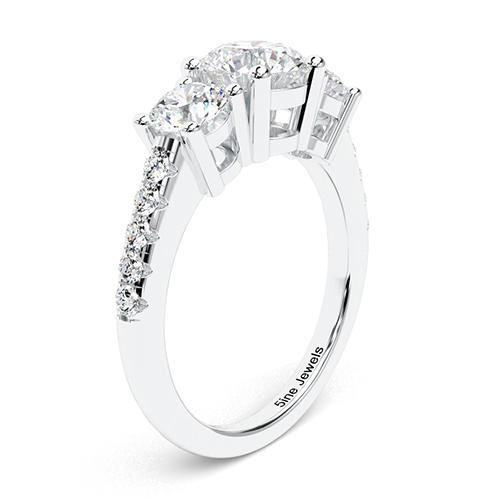 1.60 Ct SI2 G Round Brilliant Cut Heirloom Diamond Three Stone Engagement Ring 18K-White Gold