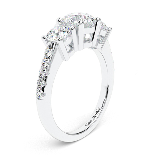 1.60 Ct SI2 G Round Brilliant Cut Heirloom Diamond Three Stone Engagement Ring 18K-White Gold