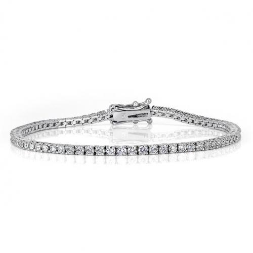 3.00 Ct Round Brilliant Cut Tennis Bracelets Bracelets 18K-White Gold