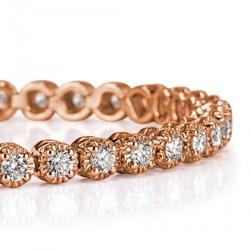 3.50 Ct Round Brilliant Cut Tennis Bracelets Bracelets 18K-Rose Gold