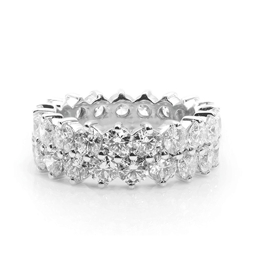5.83 Ct Round Brilliant Cut Full Eternity Diamond Wedding Wedding Ring 18K-White Gold