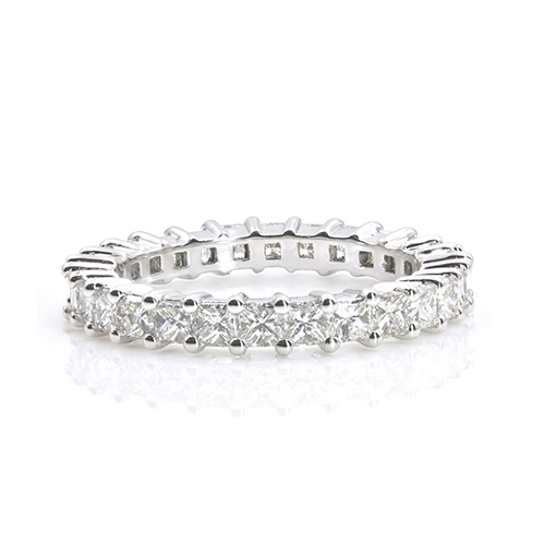 2.00 Ct Princess Cut Full Eternity Princess Diamond Wedding Wedding Ring 18K-White Gold