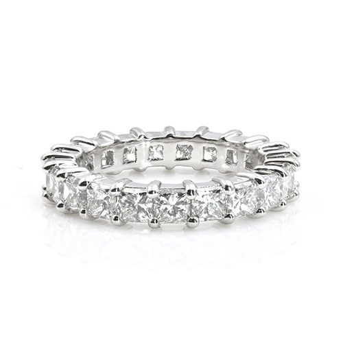 3.80 Ct Full Eternity Princess Diamond Wedding Wedding Ring 18K-White Gold