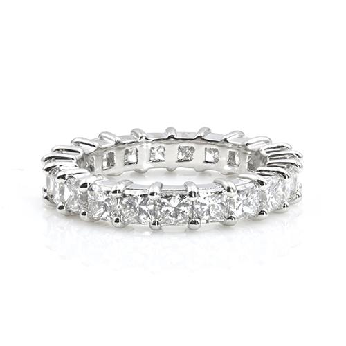 3.80 Ct Princess Cut Full Eternity Princess Diamond Wedding Wedding Ring 18K-White Gold