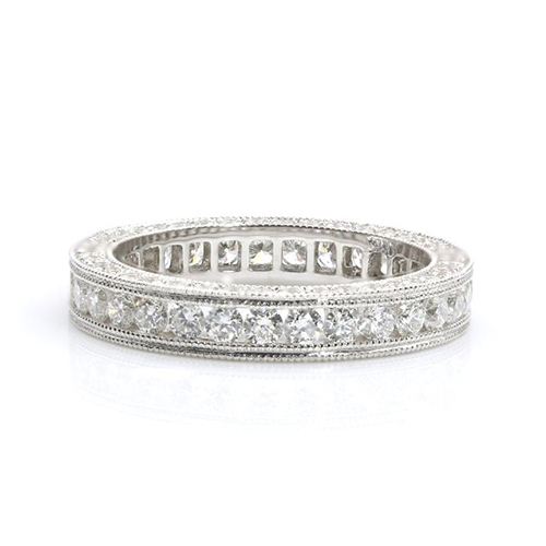 Round Brilliant Cut Full Eternity Channel Diamond Wedding Wedding Ring