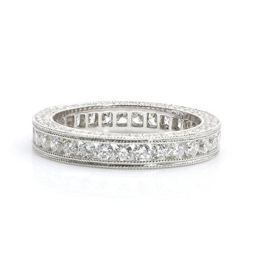 Round Brilliant Cut Full Eternity Channel Diamond Wedding Wedding Ring