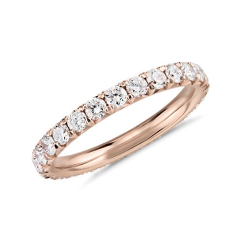 0.70 Ct Round Brilliant Cut Petite Full Eternity Diamond Wedding Wedding Ring 18K-Rose Gold