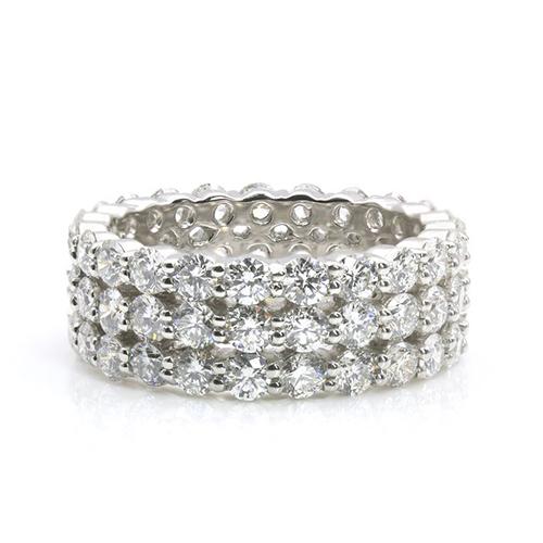 Round Brilliant Cut 3 Row Full Eternity Diamond Wedding Wedding Ring