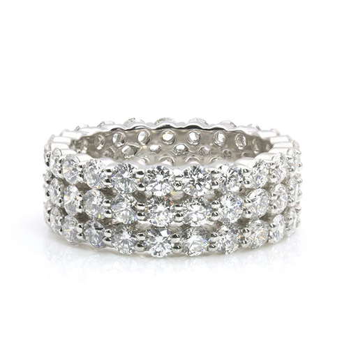 Round Brilliant Cut 3 Row Full Eternity Diamond Wedding Wedding Ring
