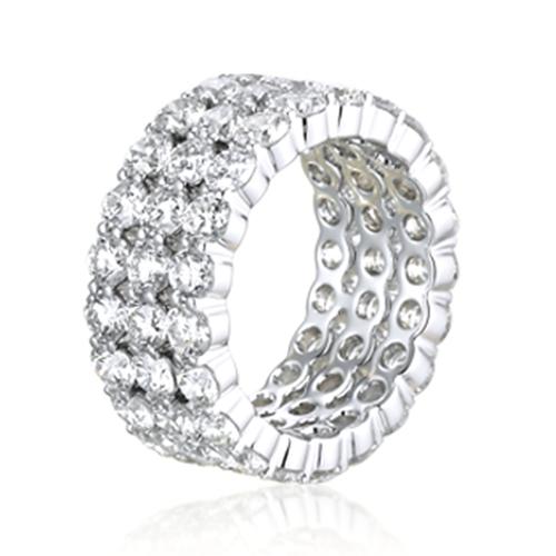 4.50 Ct 3 Row Full Eternity Diamond Wedding Wedding Ring 18K-White Gold