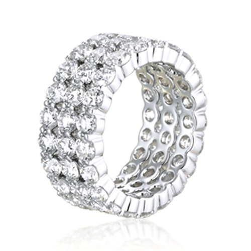 Round Brilliant Cut 3 Row Full Eternity  Eternity Bands  Wedding Ring