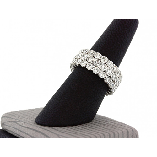 4.50 Ct Round Brilliant Cut 3 Row Full Eternity Diamond Wedding Wedding Ring 18K-White Gold