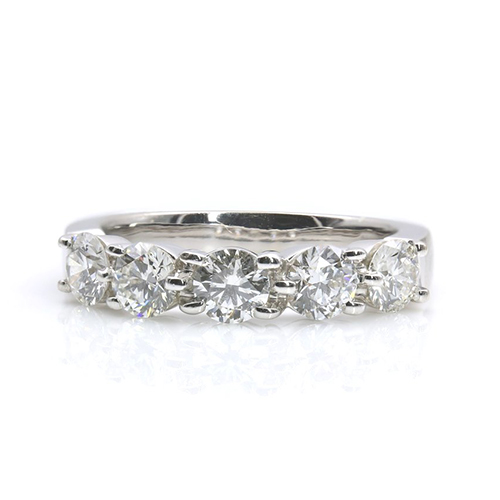 1.50 Ct Round Brilliant Cut 5 Stone Half Eternity Diamond Wedding Wedding Ring 18K-White Gold