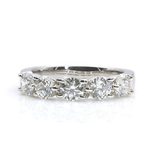 1.50 Ct Round Brilliant Cut 5 Stone Half Eternity Diamond Wedding Wedding Ring 18K-White Gold