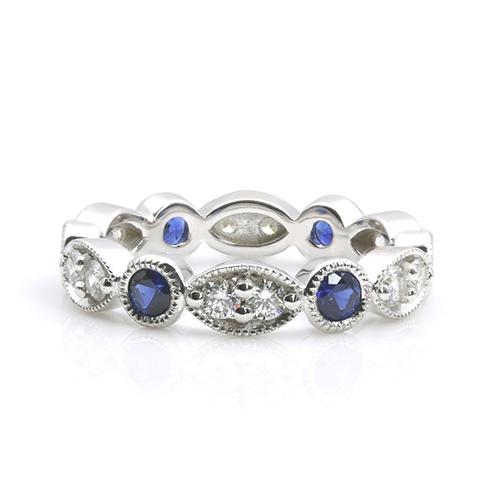 Blue Sapphire Full Eternity Diamond Wedding Wedding Ring