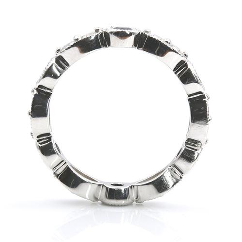 0.52 Ct Blue Sapphire Full Eternity Diamond Wedding Wedding Ring 18K-White Gold