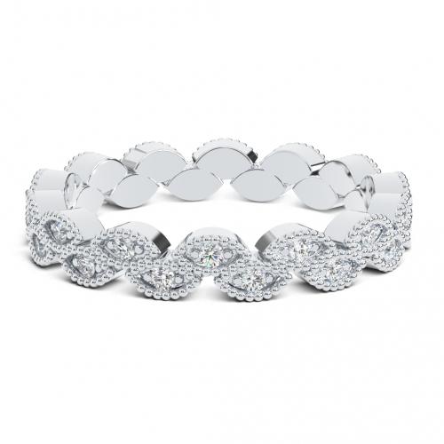 Round Brilliant Cut Leaf Inspired Full Eternity  Eternity Bands  Wedding Ring