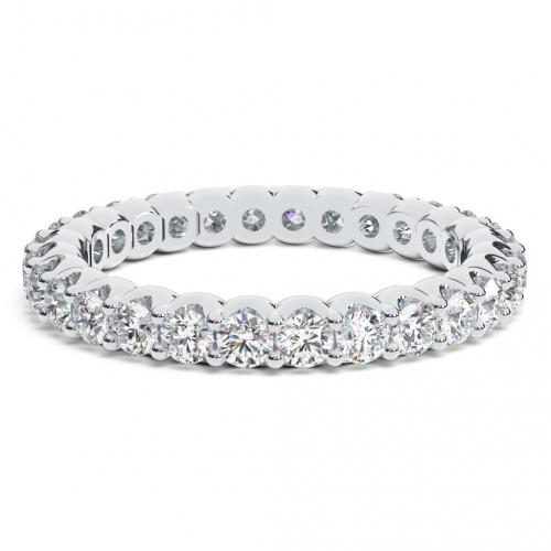 Round Brilliant Cut U prongs Full Eternity  Eternity Bands  Wedding Ring