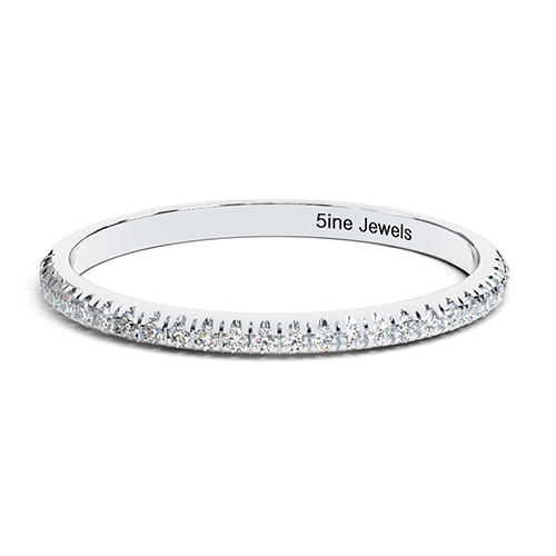 Round Brilliant Cut Micro Pave Full Eternity  Eternity Bands  Wedding Ring
