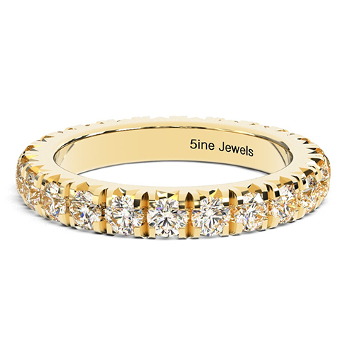 Round Brilliant Cut French Pave Full Eternity  Eternity Bands  Wedding Ring