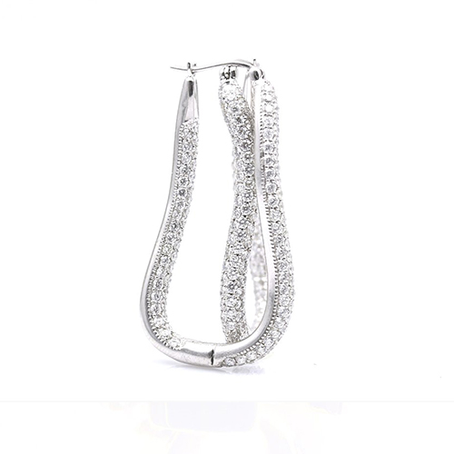 6.50 Ct Drop Micropave Earrings Earrings 18K-White Gold