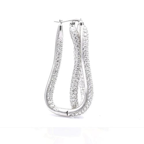6.50 Ct Drop Micropave Earrings Earrings 18K-White Gold