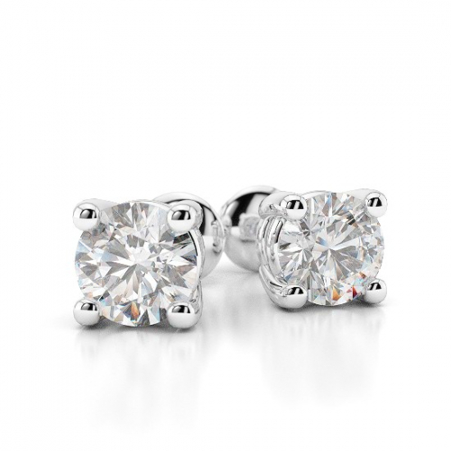 2.00 Ct SI2 G Round Brilliant Cut Studs 4 Prongs Diamond Earrings Earrings 18K-White Gold