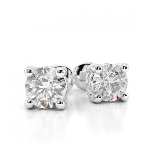 Round Brilliant Cut Studs 4 Prongs Diamond Earrings Earrings