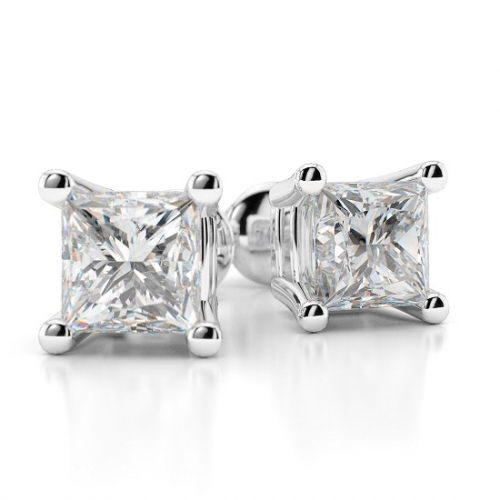 Princess Cut Studs 4 Prongs   Earrings