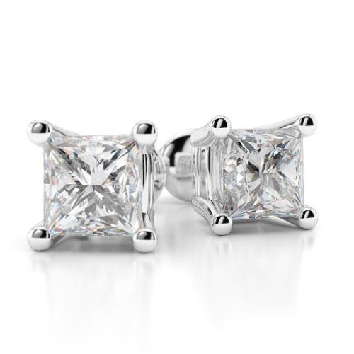 Princess Cut Studs 4 Prongs Diamond Earrings Earrings