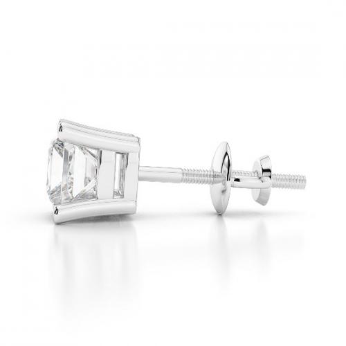2.00 Ct SI2 G Princess Cut Studs 4 Prongs Diamond Earrings Earrings 18K-White Gold