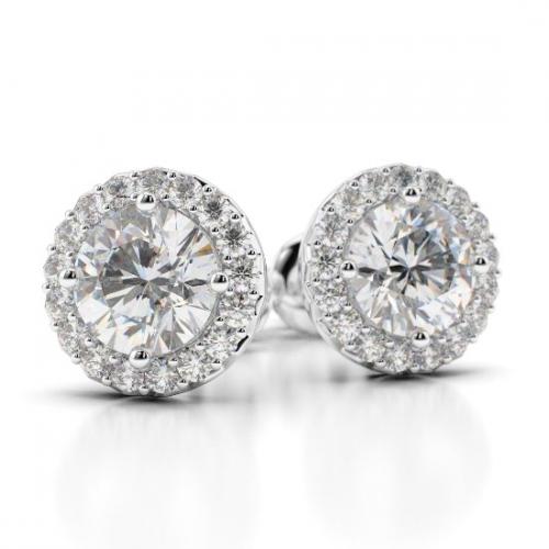 2.30 Ct SI2 G Round Brilliant Cut Halo Diamond Earrings Earrings 18K-White Gold