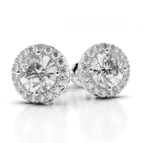 2.30 Ct SI2 G Round Brilliant Cut Halo Diamond Earrings Earrings 18K-White Gold