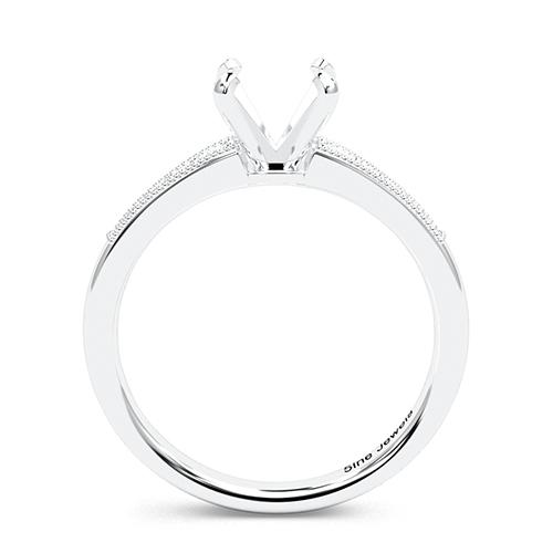 Round Brilliant Cut Contemporary Milgrain Side Stone Engagement Ring   Mounts