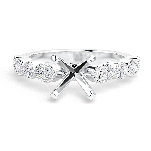 Round Brilliant Cut Vintage Milgrain Side Stone Engagement Ring   Mounts