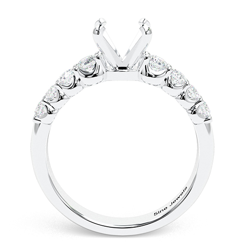 Round Brilliant Cut Graduated Side Stone Engagement Ring   Mounts