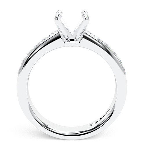 Round Brilliant Cut Channel Side Stone Engagement Ring   Mounts