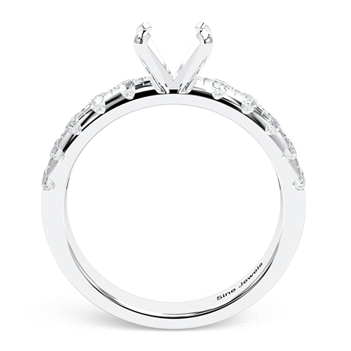 Round Brilliant Cut French Side Stone Engagement Ring   Mounts
