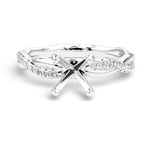 Round Brilliant Cut Twist Shank Side Stone Engagement Ring   Mounts
