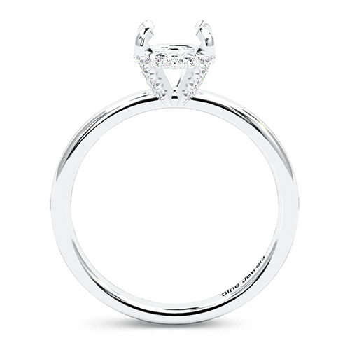 Round Brilliant Cut Collet Set Side Stone Engagement Ring   Mounts