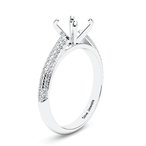 Round Brilliant Cut Three Row Micro Side Stone Engagement Ring   Mounts
