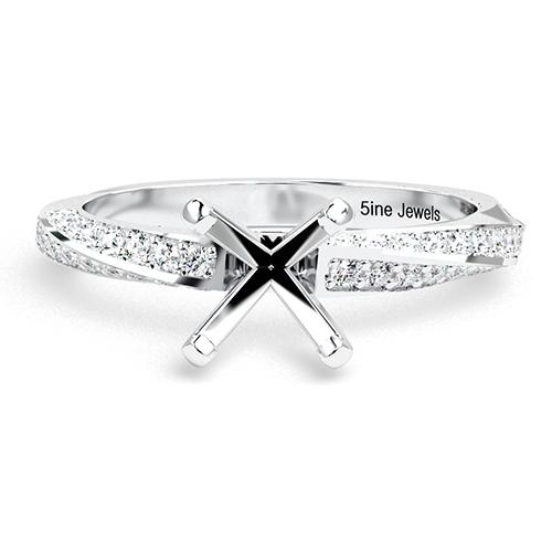 Round Brilliant Cut Twist Side Stone Engagement Ring   Mounts